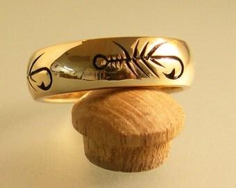Fly Fishing Ring Wedding Band Nature Ring 10k Gold