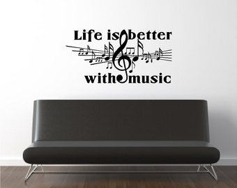 Life Is Better With Music Wall Quotes Words Sayings Removable Music Wall Decal Lettering