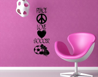 Peace Love Soccer Wall Decal Quotes Words Sayings Removable Soccer Wall Sticker Lettering Item
