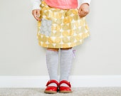 Skirt. Little Girl's Skirt. Drop waist skirt. Kids clothes. Girl Skirt. School clothes. Yellow and gray