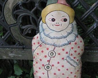 Antique Clown Doll Harlequin French Cabaret Art Nouveau Cloth Jester Circus Clown Art Deco Linen 1900s Hand Embroidered Printed Cloth Doll