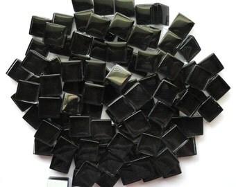 100 (10mm) Black MINI Crystal Glass Mosaic Tiles 3/8 in.//Ebony//Mosaics// Mosaic Supplies//Crafts