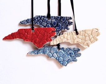 NC Lace Ornament, Ceramic, Pottery, Handmade - North Carolina - State shape - Christmas Ornament- Lauren Sumner Pottery