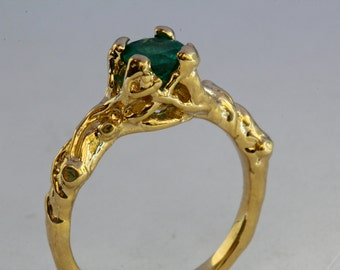 Solid gold emerald ring little branches tree ring  NYC Blue Bayer Design