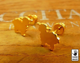 Tiny Sheep Handmade Goldplated Sterling Silver .925 Earrings in a gift box