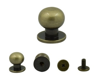 10 pcs. Brush Brass Ball Studs Screw back Buttons Leather Craft Decorations Findings 10x12 mm. BS BB001 87