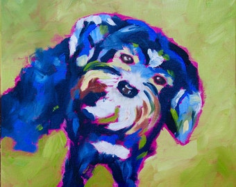 12 x 12 Original Impasto Palette Knife Impressionist Oil Painting of Animal Morkie Dog  by Rebecca Croft