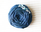Blue Silk Rosette with Swarovski Rhinestones and Hand Beading Hair Clip