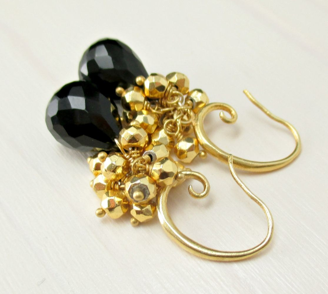 black spinel gold earrings gold pyrite earrings by