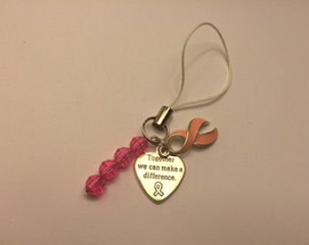 Pink Awareness Heart & Cell Phone Charm