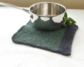 Felted Wool Gray Green Pot Holder, Wool Trivet, Knit Felted Hot Pad, Gray Wool Hot Pad, Heavy Weight Wool Trivet, Eco Friendly Wool Pad