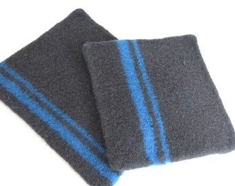Set of Large Felted Wool Trivets Pot Holders, Charcoal Gray Bright Blue Wool Hot Pad Set, Knit Felted Trivet Set, Gray Wool Pot Holder