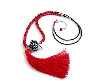 Beaded Skull Necklace, Halloween Necklace, Black and Red Tassel Necklace, Dia De Los Muertos Jewelry