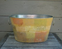 Oval metal storage bin- hand painted design, painted bucket, storage container, galvanized metal tub, party tub, magazine holder,
