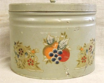 Large Tin , Cookie Tin , Biscuit Tin , Metal Box , Round , Folk Art , Hand Decorated , Primitive , Storage , Organization , Hat Box , Box