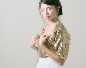 Gold sequin wedding bolero / Bridal bolero / wedding jacket / bridal cover up - Made to order