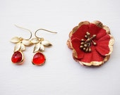 Poppy red and gold floral earrings -  wedding, bridesmaids, gifts for her