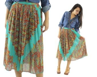 Vintage 80s Midi Skirt FRANCE ANDREVIE Paris Signed Bohemian Skirt Ethnic Full High Waisted Skirt Fall Fashion 1980s Small S Turquoise Rust