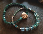 Stacking bracelet set, blue green, copper leaf,  woodland inspired, stretch bracelets, fluorite, earthy boho jewelry,