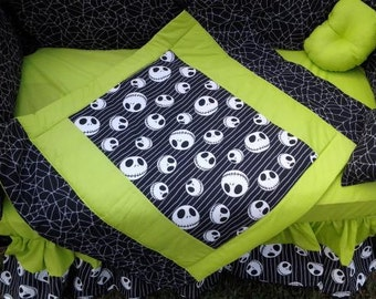 New 7 piece Made to Order Jack gothic goth NIGHTMARE BEFORE CHRISTMAS crib bedding set