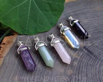 Crystal point pendant, gemstone, hexagonal, polished stone, reiki, bohemian, amethyst, green aventurine, rose quartz, opalite, obsidian