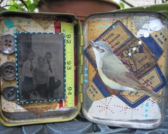 Tiny shadow box, collage, found object art, assemblage