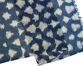 Large indigo cotton and linen gauze shibori scarf