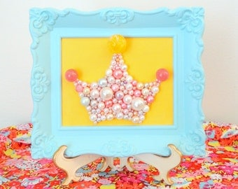 Princess Nursery Decor.  Pearl Princess Crown.  Mosaic Art. Pastel Blue Ornate Frame.  3d Picture.  Kitsch Retro Wall Hanging.  Glitter Art.
