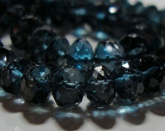 Genuine London Blue Topaz 3D Mirco Faceted Rondelle, 8.3x6mm,  AAA, 2 pcs - Midnight Blue - j19-2