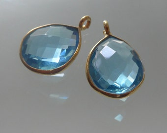 Handmade Swiss Blue Quartz Gold Vermeil over Sterling Silver Teardrop Pendant, Handmade Vermeil Sterling Silver Bezel Rim Charm - 16x10mm