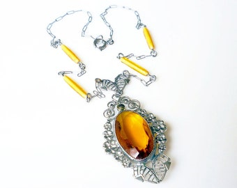 Art Deco Citrine Glass Silver Filigree Marcasite Necklace - Czech Style, Antique Necklace, Antique Jewelry, Vintage Jewelry