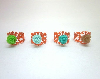 Orange Flower Rings -- Orange Adjustable Ring -- Orange Fashion Ring -- Orange Party Theme -- Orange Party Favors -- Cute Orange Rings
