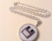 Vintage Nerd an Embroidered Cross Stitch Necklace