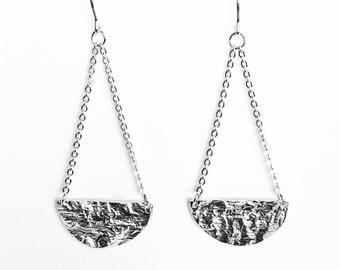Silver Half Full Moon Earrings - Handmade Reticulated Sterling Circle Women Dangle Drop Hooks Geometric Minimal Organic Eclipse