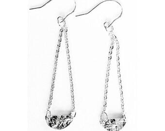 Silver Half Moon Earrings - Handmade Reticulated Reticulation Sterling Textured Dangle Drop Chain Circle Hooks Women Wedding