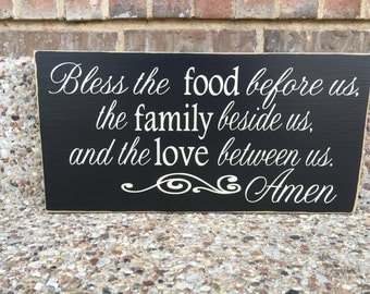 Bless The Food Custom Wood Sign ~Prayer Sign ~READY TO SHIP ~Housewarming Gift ~Kitchen Sign ~Kitchen Decor ~Blessings Sign~Dining Room Sign
