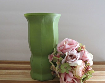 Large Distressed Vase - Leaf Green - Vintage, Painted, Upcycled, Wedding, Shower, Fall Home Decor