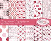80%OFF SALE Valentine's Day digital papers, commercial use patterned scrapbook papers, DIY Valentine's Day party