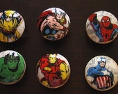 Marvel Avengers Handmade Knobs Drawer Pull Set of 6 Dresser Knob Pulls Light Switch Plate Covers to Match in Shop