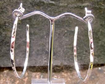 Skinny Silver hoop earrings, hammered silver hoops, modern go to rustic hoops