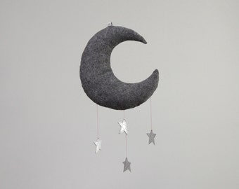 Luxe Moon Mobile in Leather and Linen - Nursery Decor // Free US Shipping