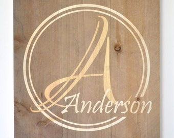 Personalized Pallet Sign Family Name Sign Rustic Pallet Monogram Wood 16x20