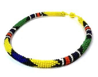 Vintage African Beaded Necklace Masai Kenya Micro Bead Choker Bright Colors