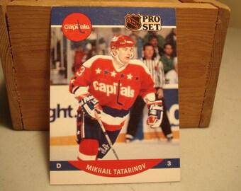 Mikail Tatarinov Card, Vintage Hockey card, Old Time Hockey, Pro Set Card, Washington Capitals, Hockey, Rookie Card