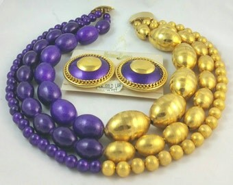 Wonderful Jay Feinberg Strongwater Purple Resin Gold Bead 3 Strand Choker Necklace