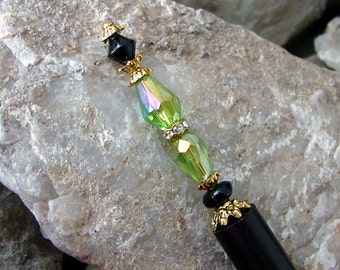 Hair Stick with Green AB Faceted Glass Teardrops Black Glass and Crystal Rhinestone Rondelle - Erleen