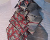 Unisex upcycled Steinkirk, red and silver stripe, Steampunk, Victorian spin on your everyday tie