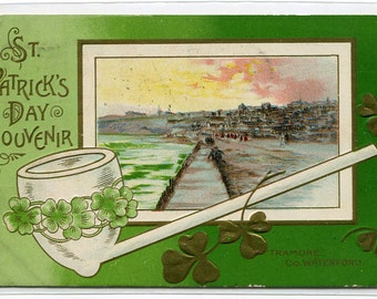 St Patrick's Day Pipe Tramore County Waterford Ireland 1911 postcard