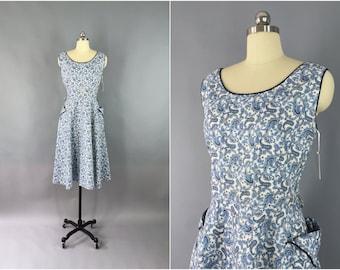 Vintage 1950s Dress / 50s Day Dress / 1950 Paisley Print Cotton Sundress / Rhinestones