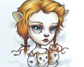 Leo - Zodiac Girl signed 8x10 pop surrealism lowbrow Fine Art Print by Mab Graves -unframed